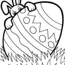 A Bunny Peeking from Behind Easter Egg Coloring Page