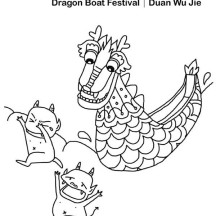 A Dragon Chasing Two Devil in Chinese Symbols Coloring Page