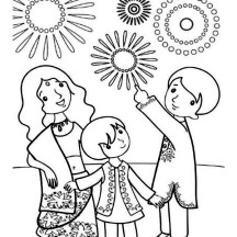 A Family Celebrate Diwali Coloring Page