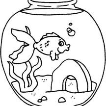 A Fish Feeling Lonely in Fish Tank Coloring Page