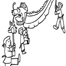 A Group of People Showing Their Lion Dance on Chinese New Year in Chinese Symbols Coloring Page
