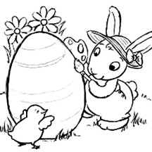 A Rabbit and a Chick Found an Easter Egg Coloring Page