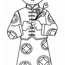 A Young Boy Holding Flowers Say Happy Chinese New Year in Chinese Symbols Coloring Page