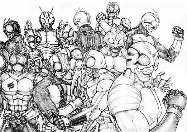 All Kamen Rider Characters Coloring Page