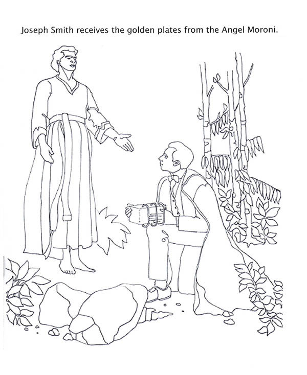 Angel Moroni Give Joseph Smith the Golden Plates Coloring Page
