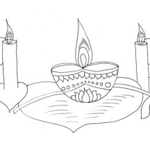 Beautiful Candle Lights for Diwali Coloring Page