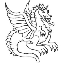 Beautiful Flying Dragon in Chinese Symbols Coloring Page