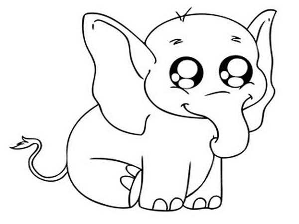 Big Eyed Elephant Coloring Page