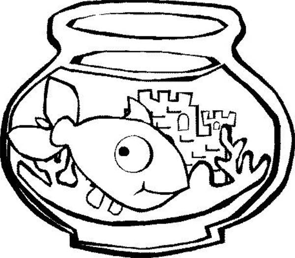 Big Eyed Fish in Fish Tank Coloring Page