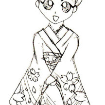 Big Eyed Geisha Coloring Page