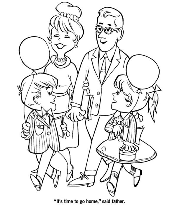 Big Family Visiting Grandparents on Gran Parents Day Coloring Page