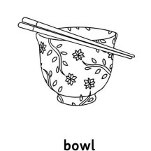 Bowl and Chopsticks Chinese Symbols Coloring Page