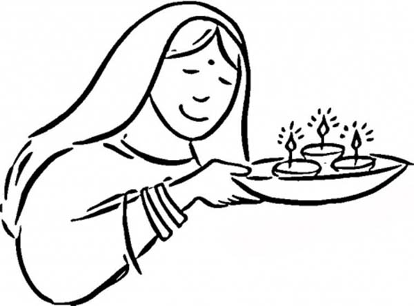 Bring the Light of Candles in Diwali Coloring Page