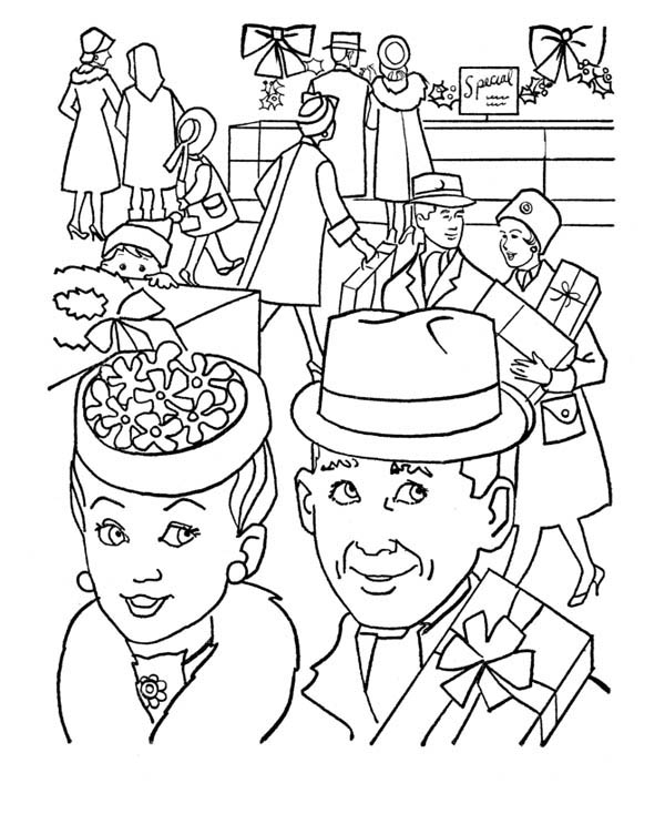 Buying a Present for Gran Parents Day Coloring Page