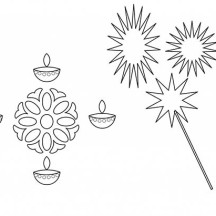 Candles and Rangoli for Diwali Coloring Page