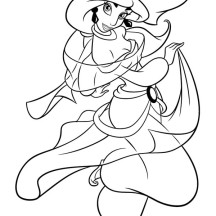 Cartoon Princess Jasmine Coloring Page