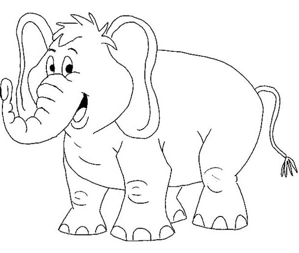Cartoon Of African Elephant Coloring Page Netart