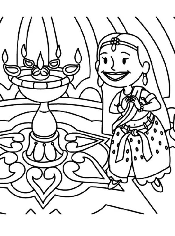 Cartoon of Diwali Festival Coloring Page