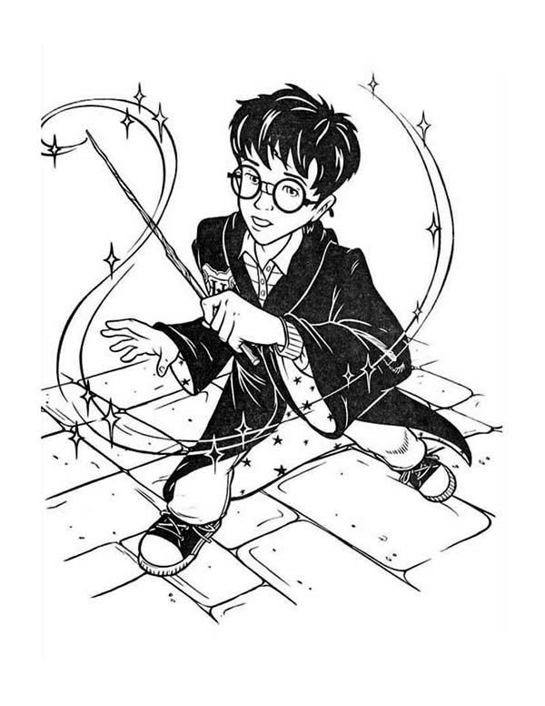 Cartoon of Harry Potter Coloring Page