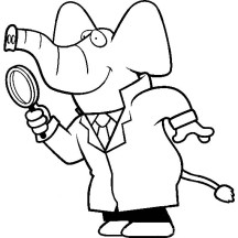 Cartoon of a Elephant Detective Using a Magnifying Glass Coloring Page
