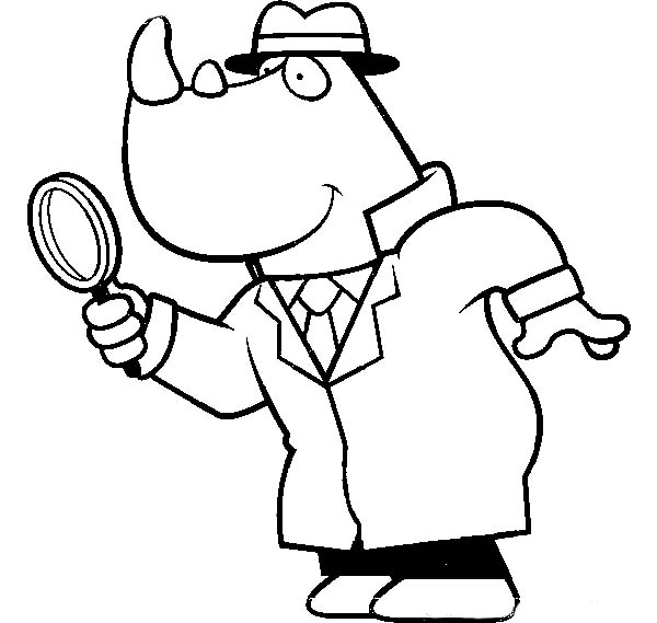 Cartoon of a Rhino Detective Using a Magnifying Glass Coloring Page