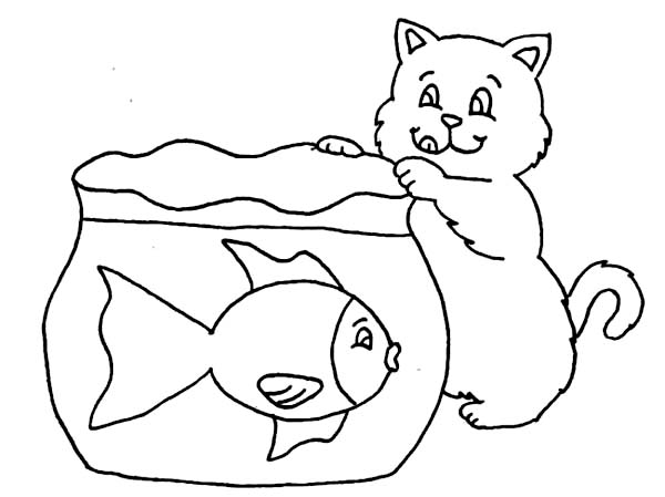 Cat Try to Catch Fish in Fish Tank Coloring Page