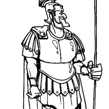 Centurion Cornelius in Armor and a Spear in the Bible Heroes Coloring Page