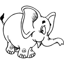 Chibi Elephant Coloring Page