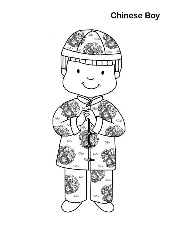 Chinese Boy in Chinese Symbols Coloring Page