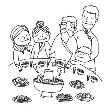Chinese Feast in Chinese Symbols Coloring Page