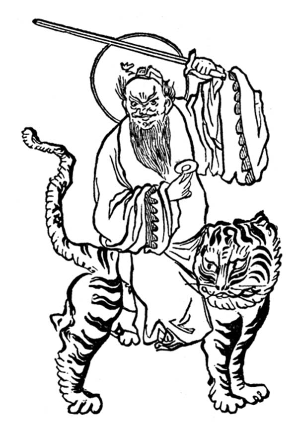 Chinese God Ride a Tiger in Chinese Symbols Coloring Page