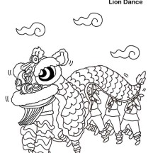 Chinese New Year Lion Dance in Chinese Symbols Coloring Page