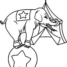 Circus Elephant Standing on a Ball Coloring Page