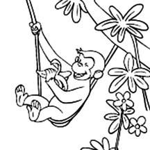 Curious George Eat His Banana Coloring Page