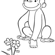 Curious George Found a Beuatiful Flower Coloring Page
