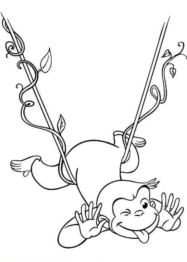 Curious George Hanging On Floating Tree Root Coloring Page Netart