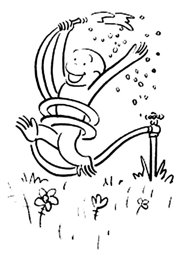 Curious George Playing Rain with Rubber Tube Coloring Page