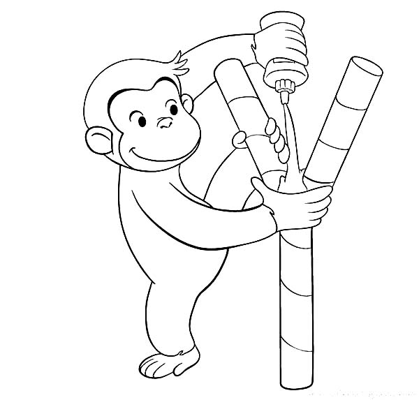 Curious George Put Some Glue Coloring Page