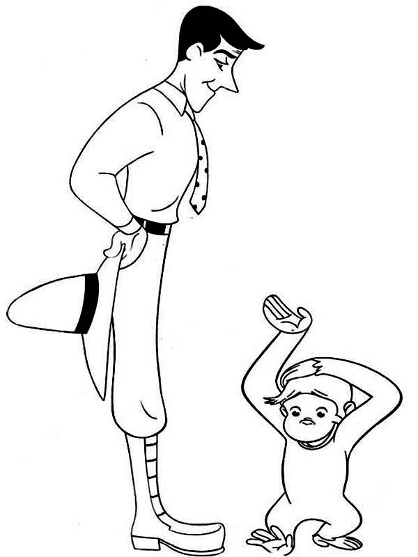 Curious George Say Sorry to Ted Shackelford Coloring Page