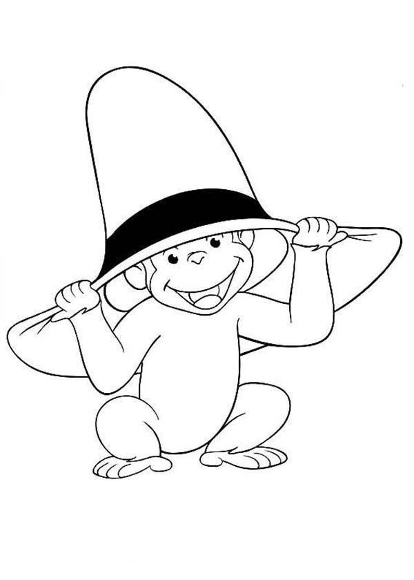 Curious George Wear Big Hat Coloring Page
