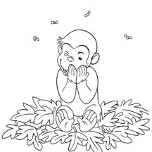 Curious George and Bees Coloring Page