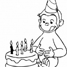 Curious George and Birthday Cake Coloring Page