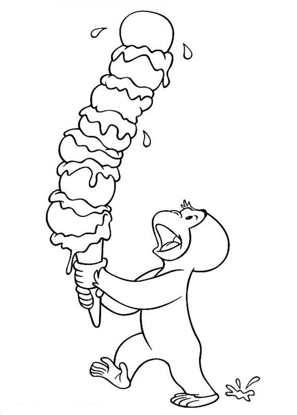 Curious George and Delicious Ice Cream Coloring Page