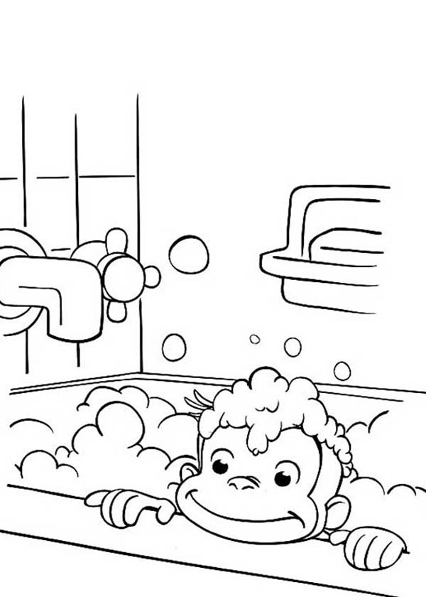 curious george in bathtub coloring page netart