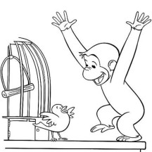 Curious George is Happy Coloring Page