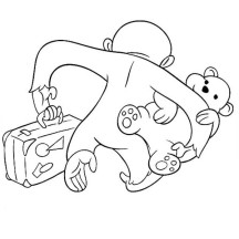 Curious George is Leaving with Teddy Bear Coloring Page