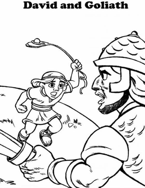 David Fight Goliath in the Bible Heroes Coloring Page