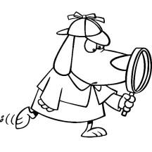 Detective Dog with Magnifying Glass Coloring Page