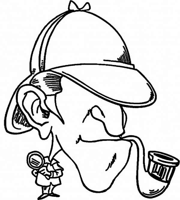 Detective Sherlock Holmes Coloring Page