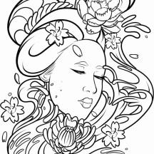 Deviant Art of a Geisha Coloring Page